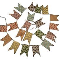 Banderines de lino, guirnalda de 3,7m, banderas