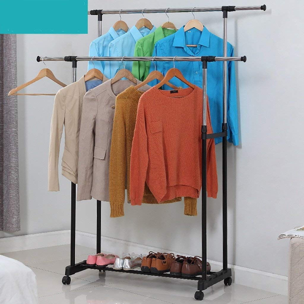 Eeayyygch Coat rack Double pole coat rack stainless steel outdoor double poles telescopic floor hanger indoor balcony drying rack Wall-mounted coat rack (Color : Pink) (Color : White, Size : -)