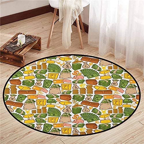 Living Room Round Rugs,Money,Colorful Symbols of Richness Wallet Credit Card Icons of Money Dollar Pound Signs,Children Crawling Bedroom Rug,4'7