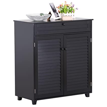 Ordinaire Yaheetech 3 Shelves Shoe Storage Cabinet With 1 Drawer 2 Doors Black