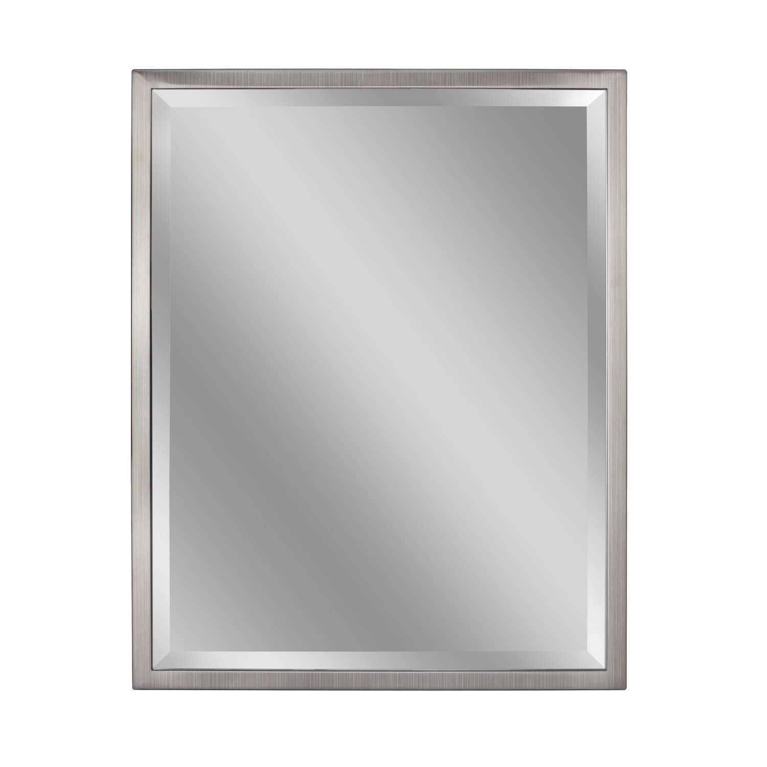 Wide Metal Frame Wall Mirror Head West Inc Head West 24 x 30 Classic Brush Nickel 1 in 8020