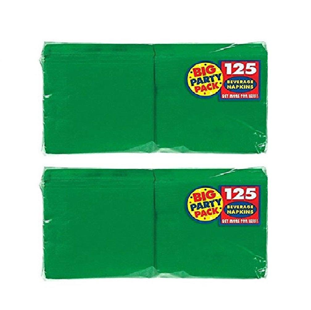 Amscan Big Party Value Pack 250 Count Beverage Napkins, Green