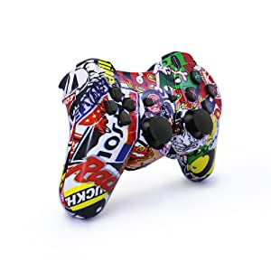 dainslef PS3 Controller Wireless Bluetooth Double Shock Sixaxis Remote Gamepad for Sony PS3 Playstation (Graffiti) . (Color: Graffiti)