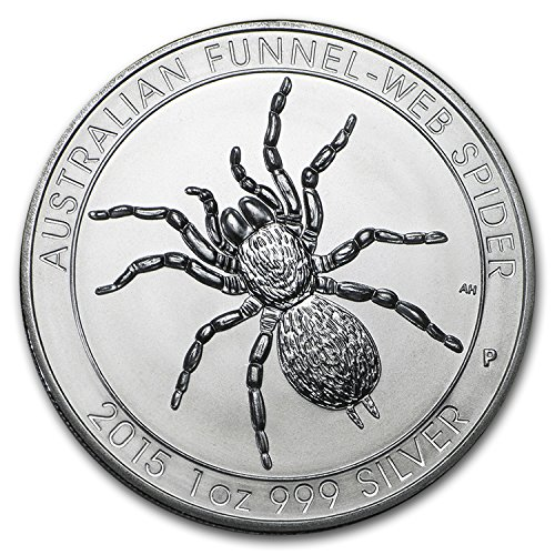 - 2015 Australia Funnel-Web Spider 1 ozt Silver Coin $1 Brilliant Uncirculated