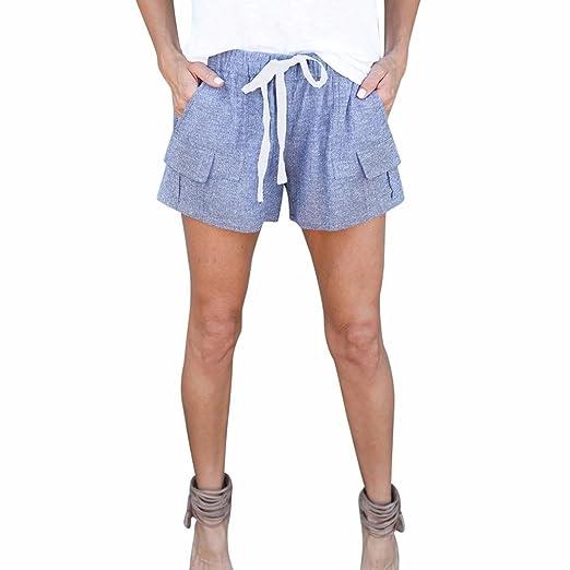 daaff31bee Women Shorts Daoroka High Elastic Waist Casual Loose Comfort Cotton Linen  Casual Beach Hot Pants with Drawstring