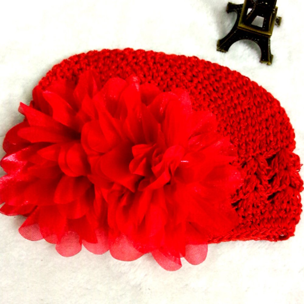 2f4bd56a797 Amazon.com   Floralby Baby Girl Beanie Hat Flower Hand Crochet Knit Cap  Kids Girls Winter Warm Hat (Red)   Baby