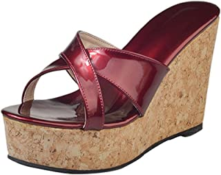 Sandales Femme,Mode été Femmes épaisse Pente inférieure et Peep Toe Sandales à Talons Hauts Talons,Espadrilles