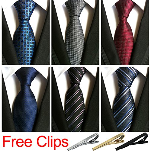 Jeatonge Lot 6 Pcs Mens Ties and 3 Free Tie Clips, Men's Classic Tie Necktie Woven Jacquard Neck Ties Gift box packing (Style 2) by Jeatonge