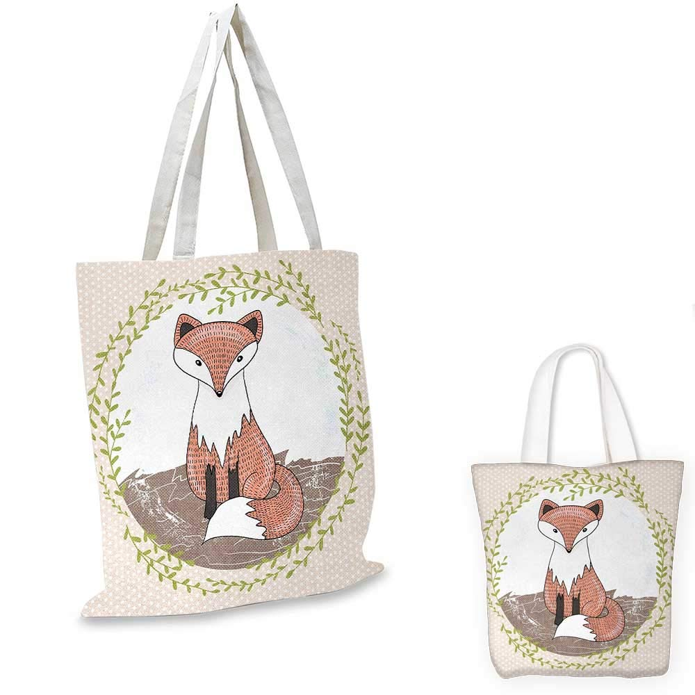 Fox canvas messenger bag Young Forest Animal Illustration for Children with Green Leafy Framework and Polka Dots canvas beach bag Multicolor 14x16-11