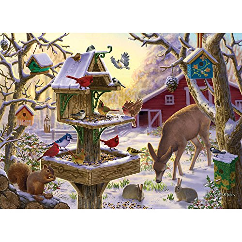 Bits and Pieces - 300 Large Piece Jigsaw Puzzle for Adults - Sunrise Feasting - 300 pc Animals, Winter Scene Jigsaw by Artist Liz Goodrick-Dillon
