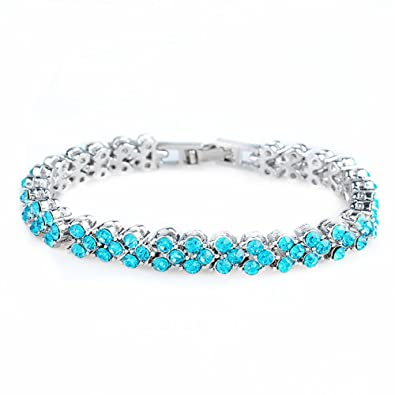 in White Gold Plated 7 RIZILIA Tennis Bracelet /& Pear Cut CZ 4 Colors Available