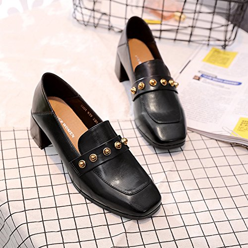 Btrada Womens Retro Square Toe Penny Loafers Shoes Chunky Heel Work Pump Shoes Casual Moccasins Driving Black kHSUheVr1