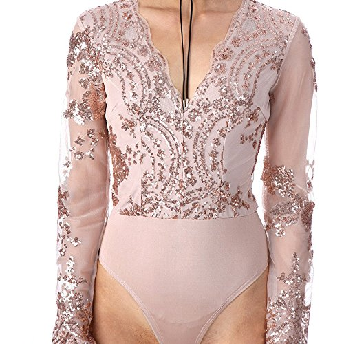 Women Summer Sequin Mesh Short Deep V Neck Jumpsuits (XL, Golden)