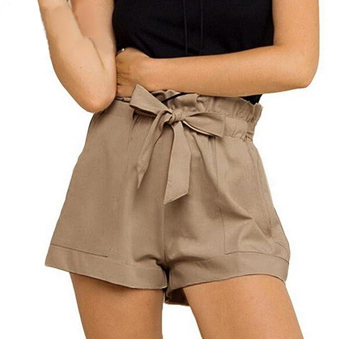edd9a045e1e3 TWIFER Damen Elegent hohe Taille Shorts Shorts weiß mit Gürtel Kurze Hose