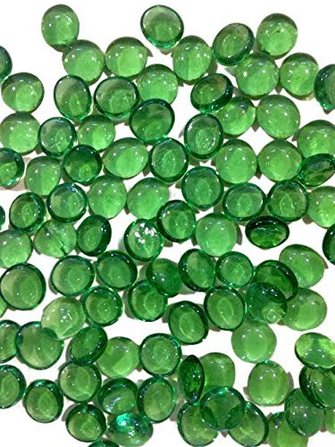 Dashington Flat Green Marbles, Pebbles (2.5 Pound Bag) for Vase Filler, Table Scatter, Aquarium Decor, Approximately 250-300 Marbles by Dashington