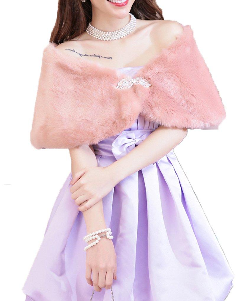 DKBridal Women's Fur Wrap Shawls Crystal Beaded Fur Coat For Parties (Pink)
