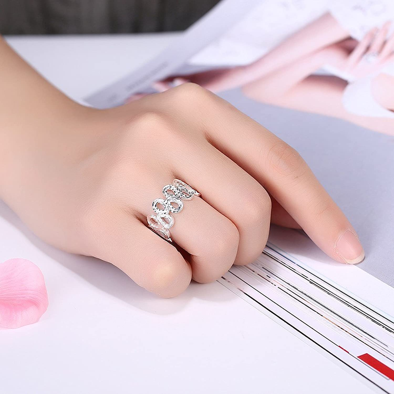 Amazon.com: Korean Style 925 Silver Plated Crossing Hollow Drop Band ...