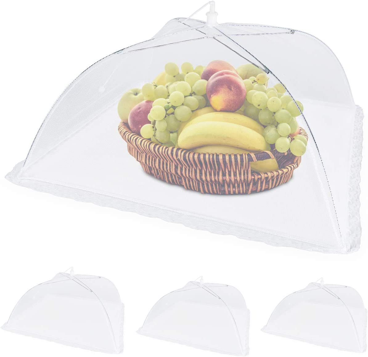 Lemonfilter 4 Pack Pop Up Mesh Screen Food Cover, 17 Inches Reusable and Collapsible Outdoor Umbrella Food Cover Tents Keep Out Flies, Bugs, Mosquitoes