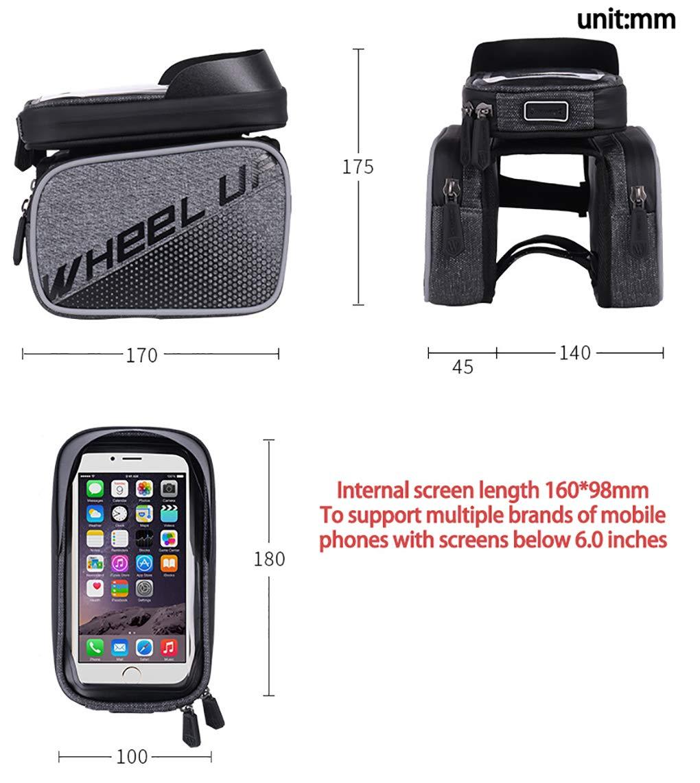 Mountain MTB City Road Fahrrad Crossbar-Beutelhalter f/ür Smartphone,Black TPU-Touchscreen Wasserdichte Tasche Fahrradrahmenpaket Fahrrad-Fronttasche