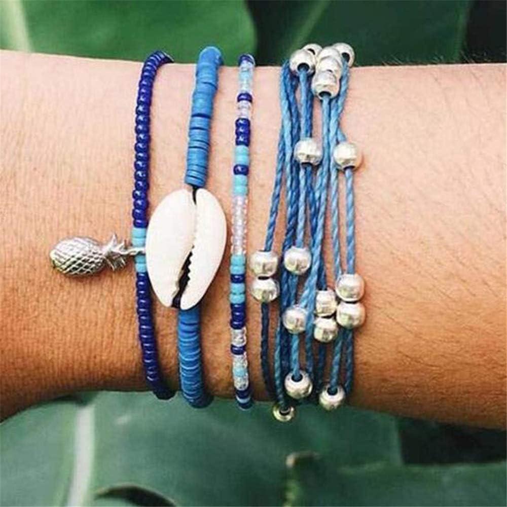 Kelistom Wave Charm Strand Bracelet Set Handmade Braided Wax Rope Adjustable Waterproof String Bracelets Friendship Jewelry