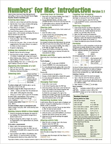 Numbers for Mac Quick Reference Guide, version 3.1-2: Introduction ...