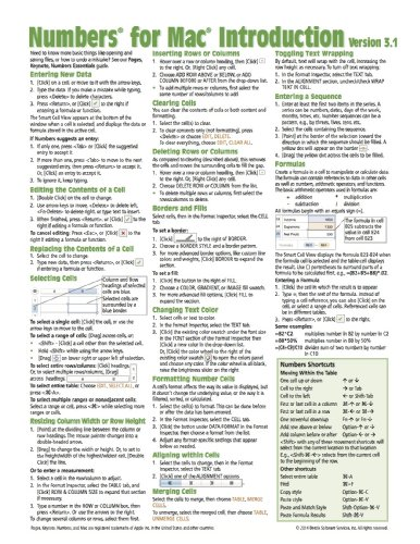 Numbers for Mac Quick Reference Guide, version 3.1-2: Introduction (Cheat Sheet of Instructions, Tips & Shortcuts - Laminated Card)