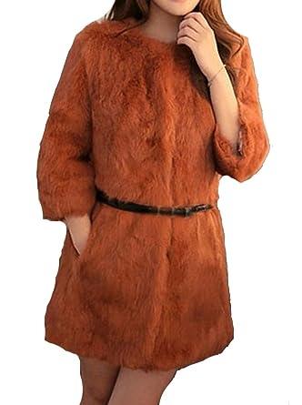 Helan Mujeres Reales de largo Rex Abrigo de piel de conejo: Amazon.es: Ropa y accesorios