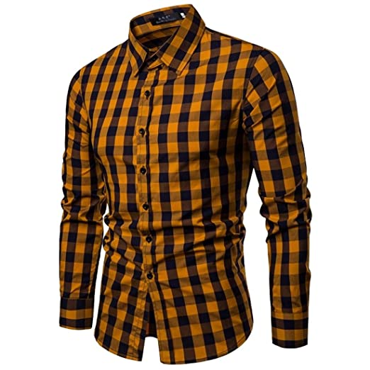Keaac Mens Contrast Color Long Sleeves Button Down Casual Button Down Shirt