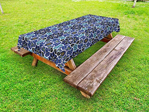(Ambesonne Moroccan Outdoor Tablecloth, Eastern Persian Gypsy Jacquard Style Arabic Culture Folk Tracery Geometric Image, Decorative Washable Picnic Table Cloth, 58 X 84 Inches, Royal Blue)