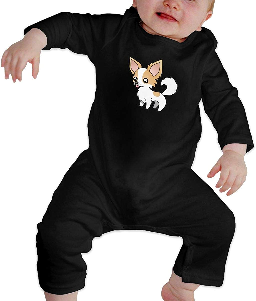 YELTY6F Chihuahua Printed Boys Girls Bodysuit Long Sleeve Rompers Black