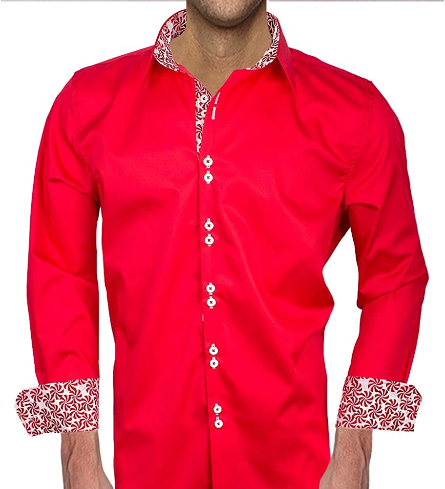 Made in The USA Men Red Christmas Dress Shirts