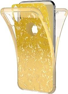 Herbests Coque iPhone X, Coque en Silicone iPhone XS 5.8 Pouces,Ultra Mince Transparent Etui Intégrale Housse 360 Degrés Production Anti Choc Slim TPU Gel Caoutchouc Bumper Case, Jaune