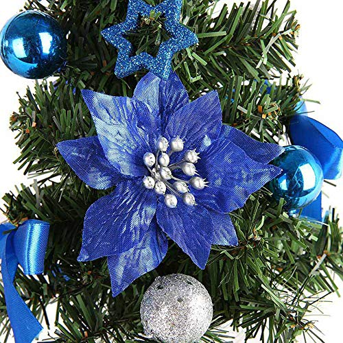 KingWo Cute Artificial Tabletop Colorful Mini Christmas Tree Decorations Creative and Charming Festival Miniature Tree 30cm (Blue) by KingWo (Image #1)