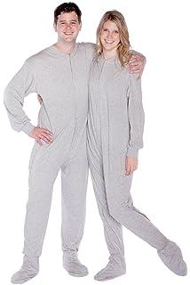 b5b337718b9f Big Feet Pajama Co. Gray Jersey Knit Adult Footie Footed Pajamas ...