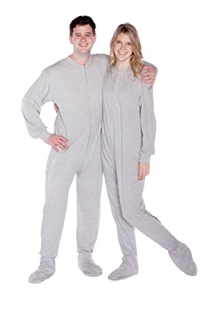 09e04a476b15 Big Feet Pajamas Grey Jersey Knit Adult Footed Pajamas with Drop ...