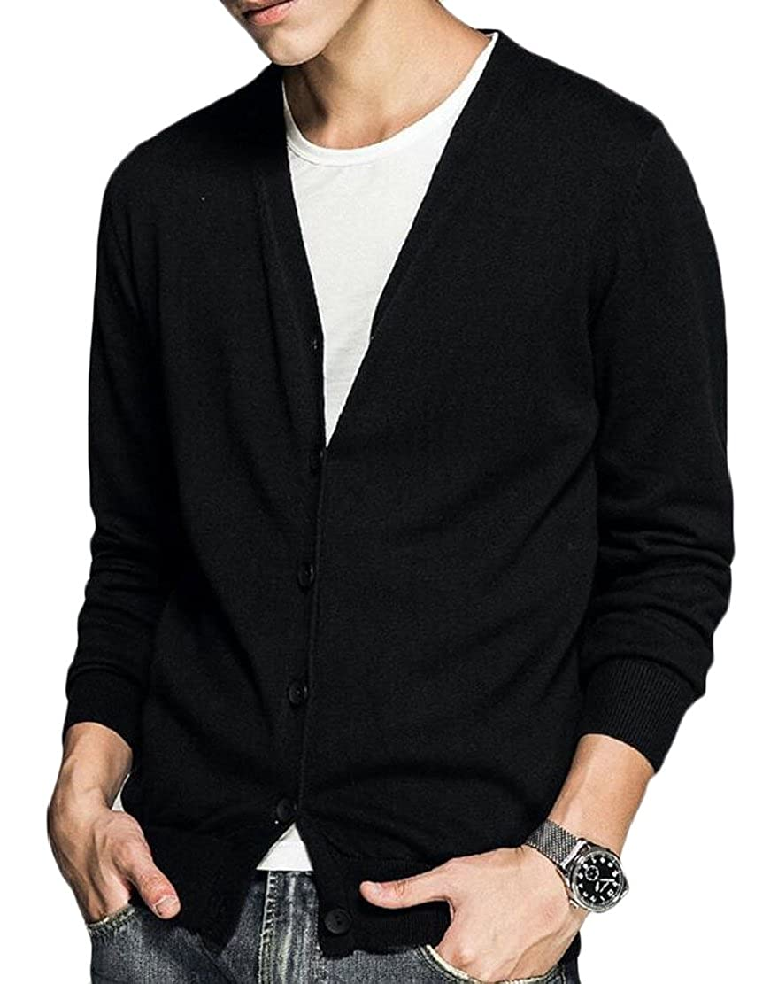M/&S/&W Men Lightweight V-Neck Long Sleeve Solid Button Down Knitted Cardigans
