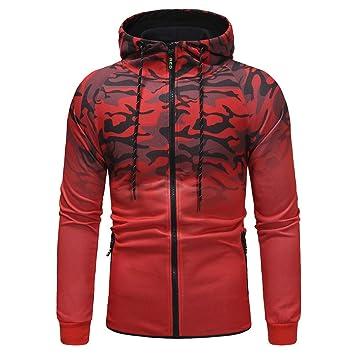 LuckyGirls Chaquetas Sudaderas Camouflage Gradiente Suelto Chándales Abrigos con Capucha para Hombre: Amazon.es: Deportes y aire libre
