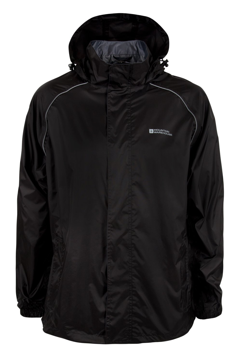 Mountain Warehouse Pakka Mens Packable Jacket -Waterproof Summer Coat Black Small by Mountain Warehouse