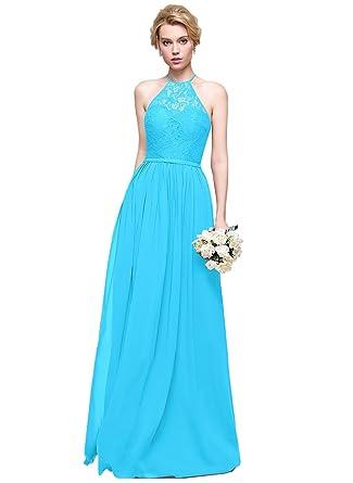 deb5b8e8d6cc Loffy Women's Elegant Sleeveless Long Chiffon Bridesmaids Dress Blue Size 2