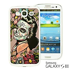 OnlineBestDigitalTM - Skull Pattern Hardback Case for Samsung Galaxy S3 III I9300 - Woman With Sugar Skull Face