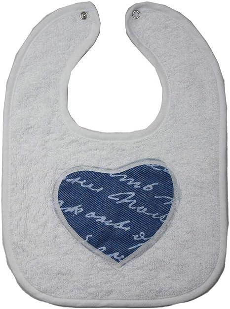 Babero Neoanto Jeans Love – Babero bebé de rizo 25 x 35 cm cierre con botón algodón 100% Made in Italy Bianco: Amazon.es: Bebé