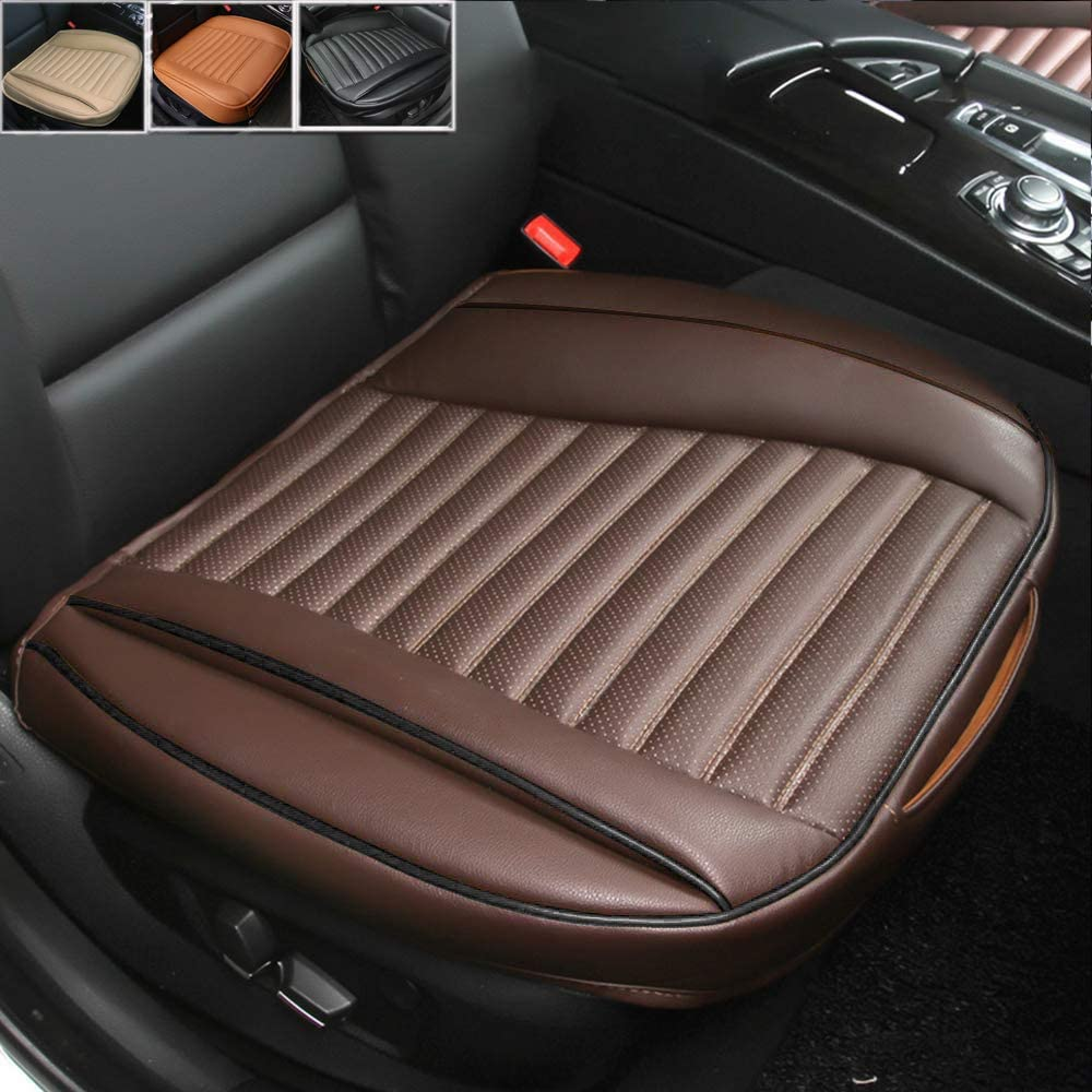 Fochutech Car Front Seat Cover Pad Mat Cushion Universal Fit Breathable Blanket Nonslip Auto Truck Office PU Leather (Coffee)