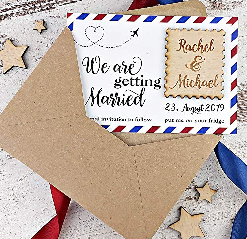 Stamp Save The Date, Postcard Save The Date Wood Magnet, Wedding Save The Date Magnet, Rustic Save The Date Invitiation, Destination Wedding Save The Date - SET OF 20 -