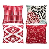 Modern Simple Geometric Style Cotton & Linen Throw Pillow Covers, 18 x 18 Inches, Pack of 4 (Pink)