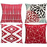 modern simple geometric style cotton linen decor throw pillow covers 18 x 18 inches pack of 4 red - Red Decorative Pillows
