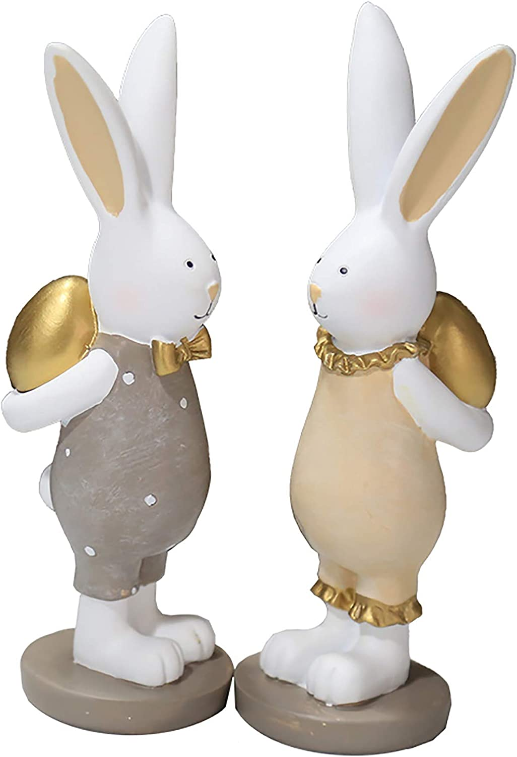 Rabbit Sculpture Cartoon Bunny Resin Craftwork Decorative Ornaments Easter Decoration Rabbit Miniature Rabbit Figurines Garden Animal Statues for Home Office Shops (Style A, One Size)