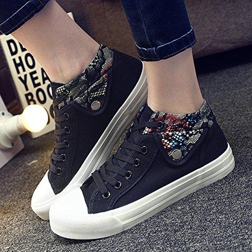 Aisun Donna Alla Moda Floreale Low Tops Stringate Scarpe Di Tela Sneakers Nere
