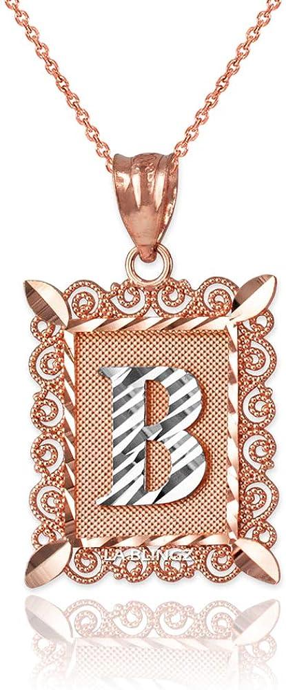 LA BLINGZ 14K Rose Gold Filigree Alphabet Initial Letter B DC Pendant Necklace