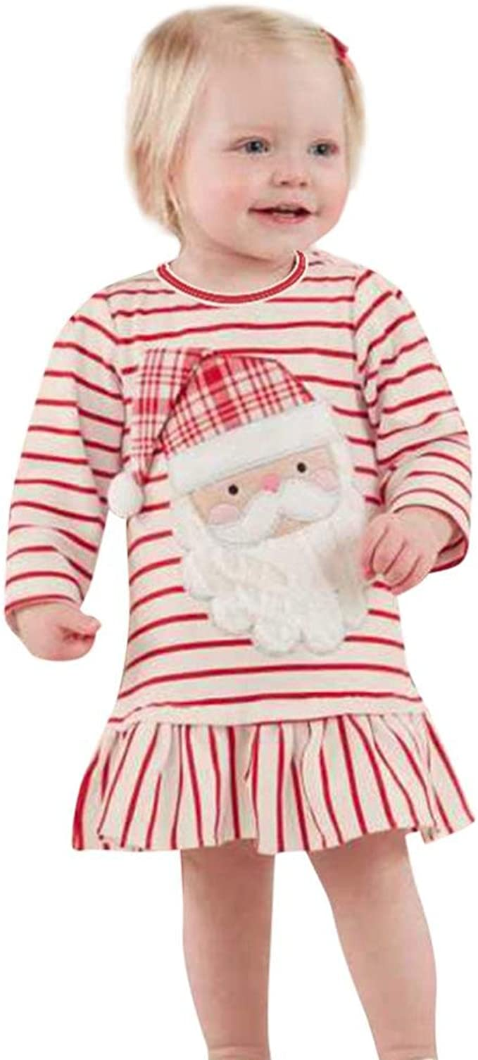 Cute Toddler Kid Baby Girls Santa Striped Princess Dress Christmas Dress Clothes
