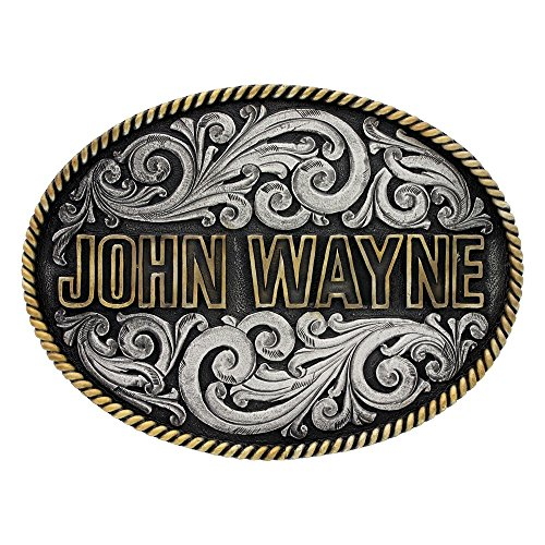 Montana Silversmiths Men's Two-Tone John Wayne Rope Trim Attitude Belt Buckle Multi One Size (Multi Buckle Belt)